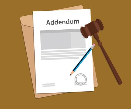 addendum: addendum stamped letter illustration with judge hammer and folder document with brown background Illustration