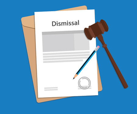 dismiss: Dismissal text on stamped paperwork illustration with judge hammer and folder document with blue background