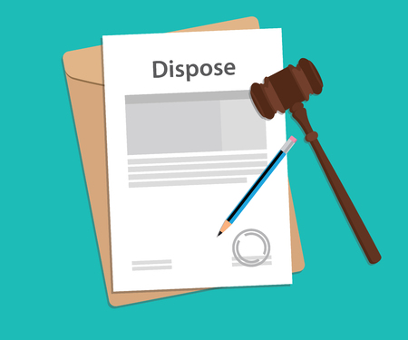 hammer throw: Dispose text on stamped paperwork illustration with judge hammer and folder document with green background