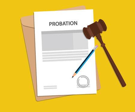 Probation text on stamped paperwork illustration with judge hammer and folder document with yellow background
