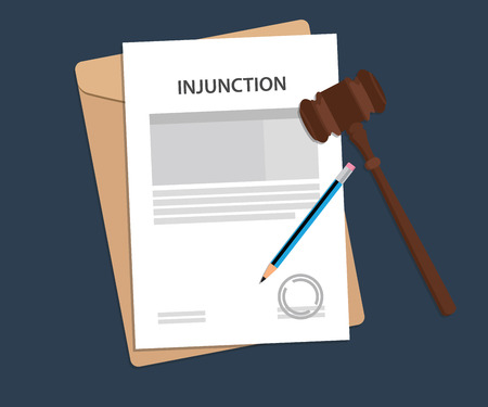 injunction: Injuction text on stamped paperwork illustration with judge hammer and folder document with blue background