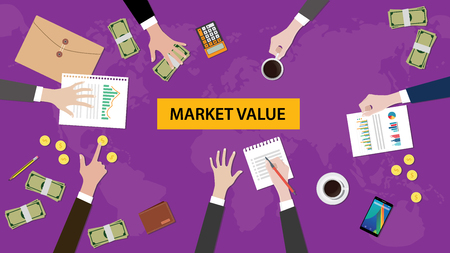 valuation: illustration of a team discussion about market value in a meeting with paperworks, money, coins, calculator and folder document on top of table and purple world map as background
