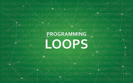 プログラミング ループ概念の背景として緑のコンスタレーション マップ図白本文イラスト  イラスト・ベクター素材