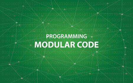 モジュラー コード概念図白本文イラストを使用した緑のコンスタレーション マップの背景としてのプログラミング  イラスト・ベクター素材