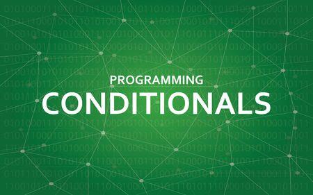 Programmeringsvoorwaardelijke illustratie van de het illustratie de witte tekst van het conceptenconcept met groene constellatiekaart als achtergrond