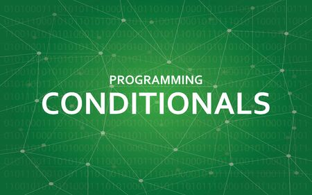 Programming conditionals concept illustration white text illustration with green constellation map as background Illustration