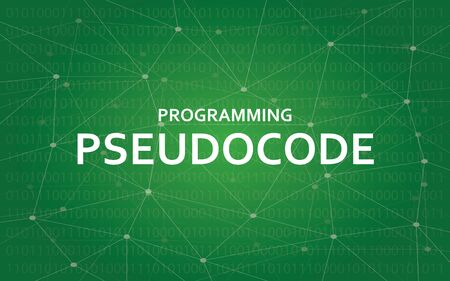Programming pseudocode concept illustration white text illustration with green constellation map as background