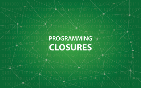constant: Programming closures concept illustration white text illustration with green constellation map as background