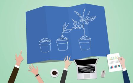 Investment process plan concept illustration with team mange on blueprint with plant grow