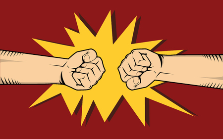 Two hand fighting or clashes illustration. Stock Illustratie