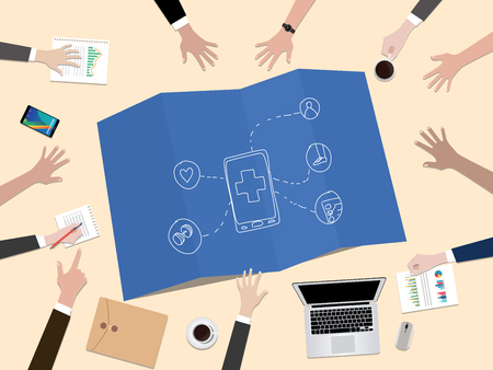 health apps application concept illustration with hand team work together on top of the table