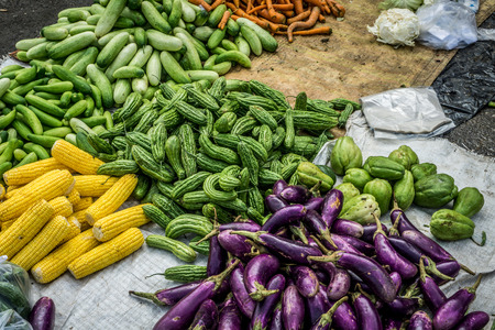 kinds of vegetbles in green grocer at tarditional market photo taken in Bogor Indonesia Stock Photo
