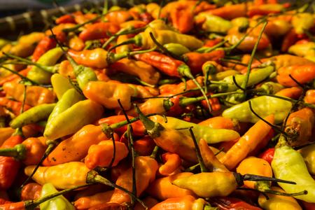 jakarta: Red Cayenne pepper on sale in traditional market photo taken in Bogor Indonesia