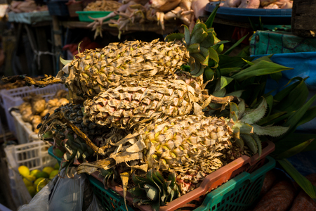 pineapple sell in local traditional market photo taken in bogor jakarta indonesia Stock Photo
