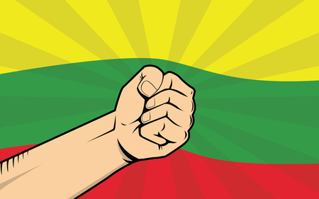 Lithuania fight protest symbol with strong hand and flag
