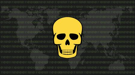 hacked: global attack ransomware skull with binary code background and world map