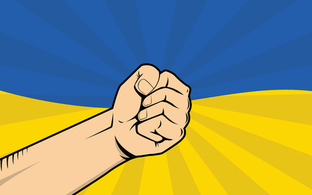 ukraine protest illustration with single hand strong fist