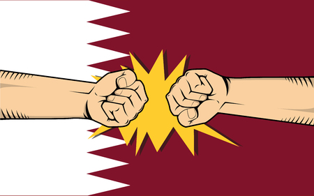 qatar protest with hand fist clash fight with qatar flag as background vector