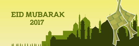 eid mubarak illustration with mosque and green color theme and ketupat vector Illustration
