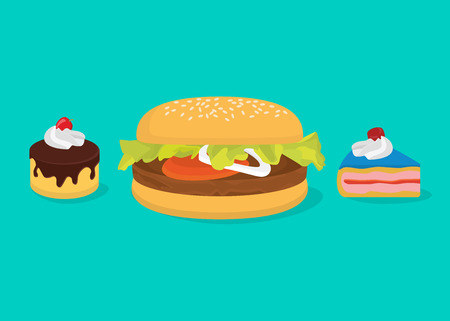 Big calories concept with hamburger and cakes vector