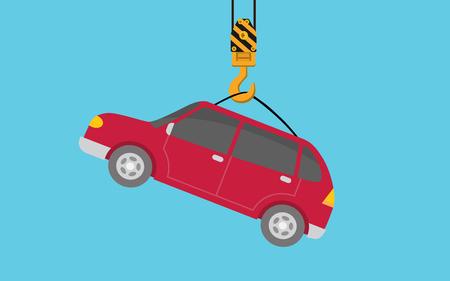 Hanging car on hook crane illustration vector graphic