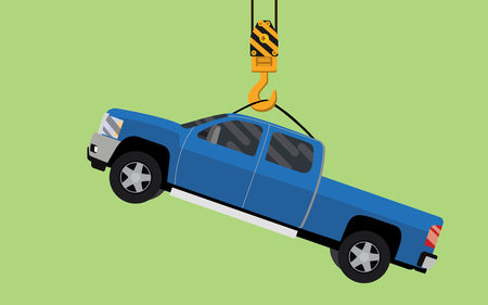 Hanging truck on hook crane illustration vector graphic