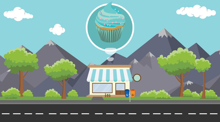 cupcakes store business on beside street with mountain view as background vector