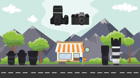 digital camera store on sidewalk with tree and mountain as background vector
