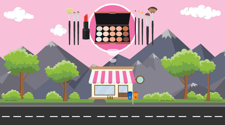 makeup store on sidewalk with tree and mountain as background vector