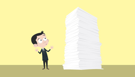 todo list: business man with a lot of paper work stack Illustration