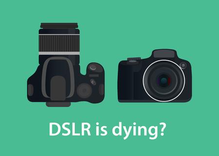デジタル一眼レフのデジタル カメラは死んでいるまたは技術のために死ぬ  イラスト・ベクター素材