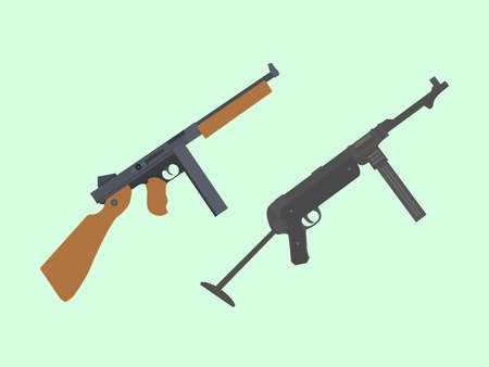 german handgun: America thompson submachine gun VS mp-40 german vector Illustration