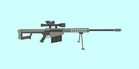 50cal caliber sniper rifle big gun with flat style illustration vector Illustration