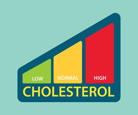 A cholesterol level bar with low, medium and high level vector