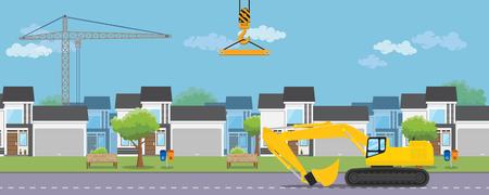 desarrollo inmobiliario de vivienda con casa y equipo pesado