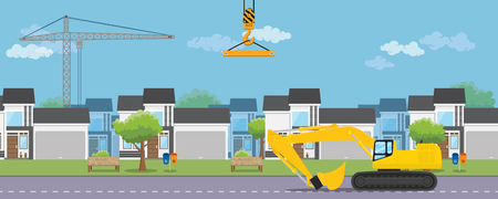 housing real estate construction development with house and heavy equipment Illustration