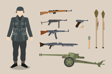 a german ww2 soldier, gun equipment with bazooka, machine gun, pistols, artillery. vector graphic illustration Иллюстрация
