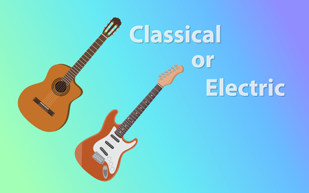 Compare between classical guitar vs electric guitars.