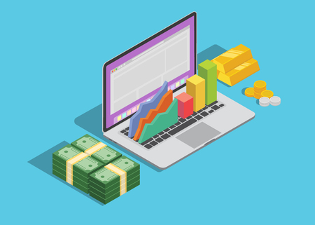 online business technology with laptop and graph and cash money 向量圖像