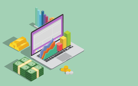 online business technology with laptop graph and money with space for text