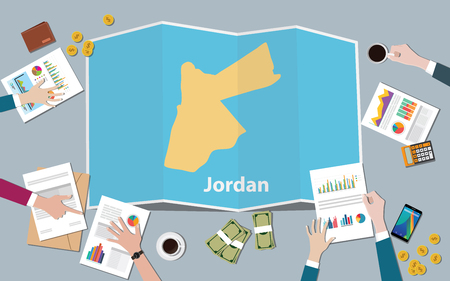 jordan country growth nation team discuss with fold maps view from top vector illustration