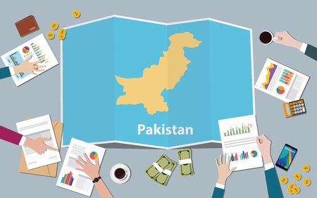 pakistan country growth nation team discuss with fold maps view from top vector illustration