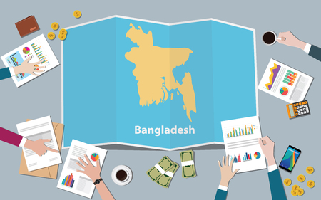 bangladesh country growth nation team discuss with fold maps view from top vector illustration