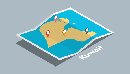 explore kuwait maps with isometric style and pin marker location tag on top vector illustration