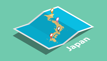explore japan maps with isometric style and pin marker location tag on top vector illustration