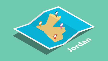 explore jordan maps with isometric style and pin marker location tag on top vector illustration
