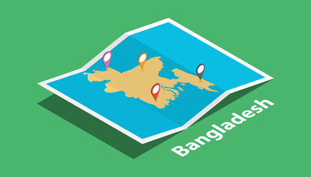 explore bangladesh maps with isometric style and pin marker location tag on top vector illustration
