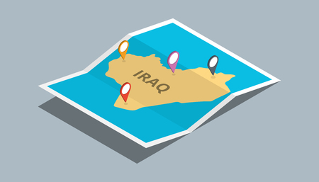 explore iraq maps with isometric style and pin location tag on top vector illustration Stock Illustratie