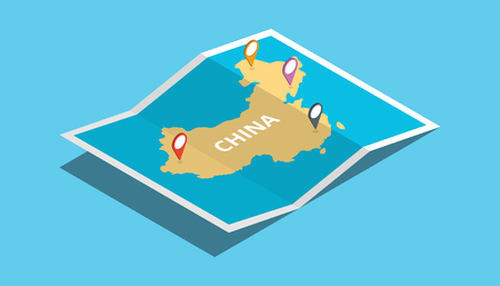 explore china maps with isometric style and pin location tag on top vector illustration