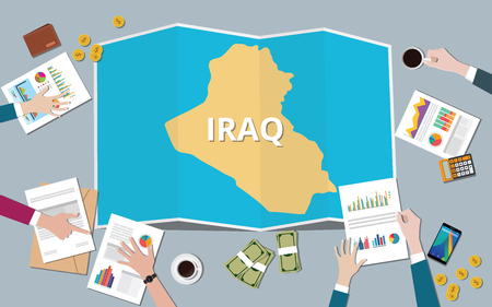 iraq country growth nation team discuss with fold maps view from top vector illustration Иллюстрация